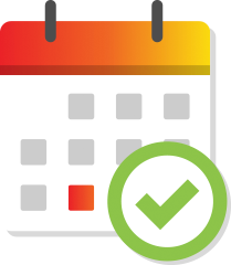 Calendar graphic with checkmark in a circle
